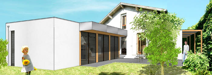 extension contemporaine et r novation d une maison des. Black Bedroom Furniture Sets. Home Design Ideas