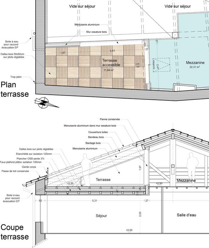 Am nagement d une terrasse en toiture centre ancien de romans 26 eric prang architecte - Plan de coupe piscine ...
